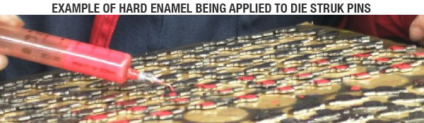 Hard Enamel Being Applied to Custom Pins