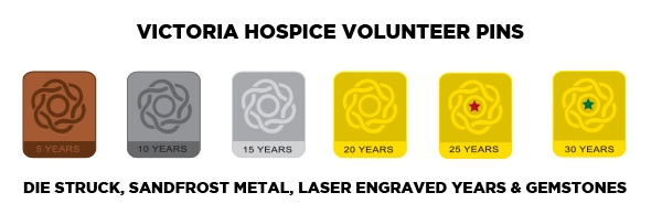 Vic-hosp-custom-volunteer-pins.jpg, years service pins, employee pins, engraving, recognition pins