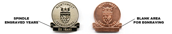 years service pins, employee pins, engraving, recognition pins