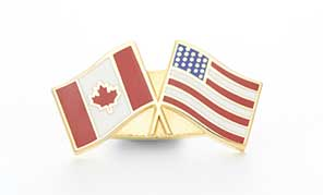 Custom crossed flag pins canada