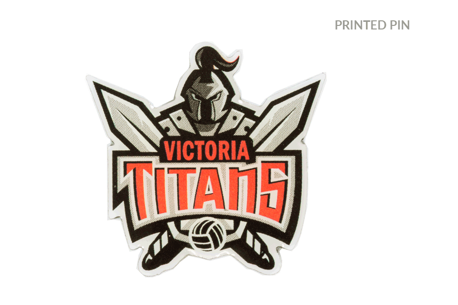 Printed Volleyball Team Pin